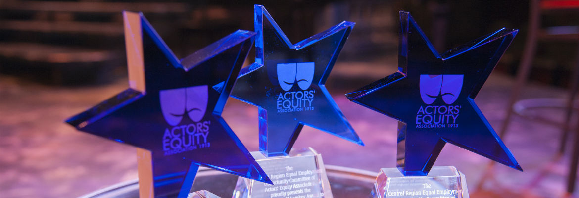 Three Spirit Awards -- transluscent blue stars with an embossed Actors' Equity logo -- await their recipients