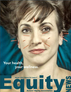 Equity News Cover image of an actress's face in close up with acupunture needles inserted at various points around her face.