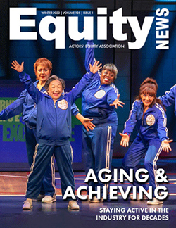 Cover of Winter 2020 Equity News features the cast of 'Half Time'