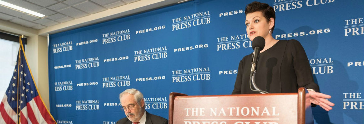 Equity President Kate Shindle addresses the National Press Club about NEA Funding in 2017